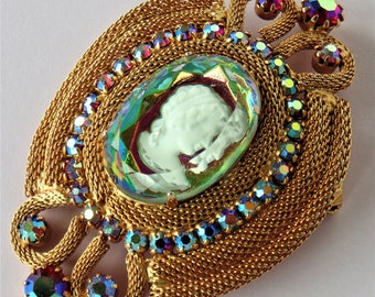 Large Gold-Toned Aurora Borealis Faceted Rhinestone Crystal & Cameo Brooch