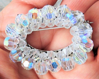 Open Oval Clustered Aurora Borealis Faceted Rhinestone Crystal Brooch