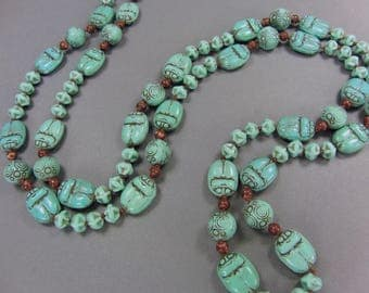 Egyptian Revival Scarab Necklace by Max Neiger, 38 1/2 Inches Long, Turquoise Glass, Vintage Art Deco Jewelry