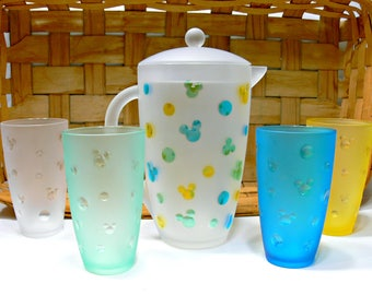 Mickey Mouse Acrylic Drink Pitcher & 4 Tumblers - Vintage Disney Collectible