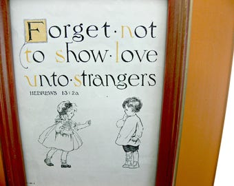 """Framed Biblical Verse, 8 x 10 Antique Book Illustration """"Forget Not to Show Love Unto Strangers"""""""