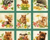 Oasis Fabrics. Forest Babies Squares Panel  2/3 Yard Repeat - Quilting Panel - Cotton Fabric