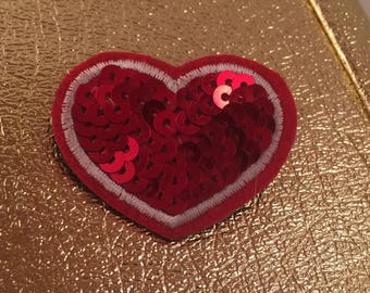 Red Sequin Heart Brooch