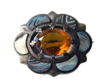 Victorian Sterling Silver Scottish Agate Brooch