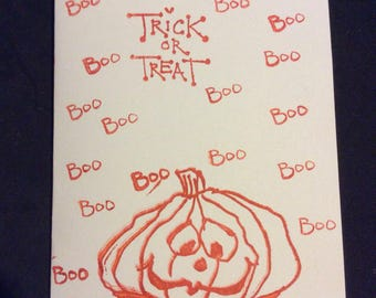 Trick or Treat Halloween greetings card, handmade card, Boo hand stamped, pumpkin with boo, orange stamped card