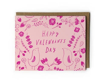 Valentine's Day Card, Secret Garden Line Drawing, Colored Pencil Drawing, Love Card, Blank Cards with, Pink Botanical, Nature, 4.25 x 5.5