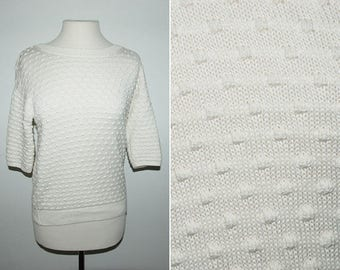 90's Polka Dot Chunks Three Quarter Sleeve Sweater / Sz Small