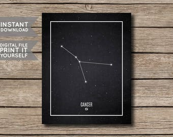 INSTANT DOWNLOAD - Cancer Constellation Print / Printable Zodiac / Horoscope Constellation Print / Poster / Chalkboard Style - Digital File