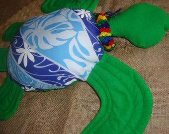 Honu Hawaiian green sea turtle pillow blue