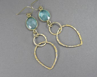 Etruscan Vermeil Earrings, Pale Blue Stone, Boho, Gypsy, Gold Plated Sterling, Vintage Dangle, Hammered, Open Back, Faceted, Tear Drop Shape