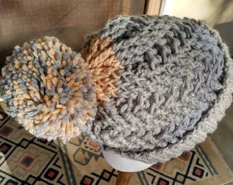 Hand Crocheted, Tri-Color Slouchy Boggin with Fold Up Brim and Pompom.