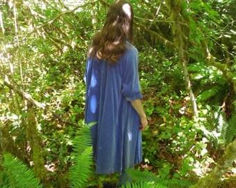 Blue Velvet Swing Coat, Formal Occasion Velvet Coat, 3/4 Sleeve Open Coat, Vintage Velvet Coat, Lilli Diamond of California VTG Coat