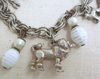 Dog Lover Charm Bracelet, Silver Tone Dog Charms & White Milk Glass Bead Bracelet, Vintage Silver Charm Bracelet, Mid Century Charm Bracelet