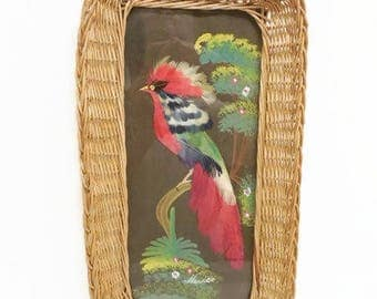Mexican Feather Art Exotic Bird Picture, Mexico Souvenir Wall Art Tray, Retro Red Bird Feather Art, Handled Wicker Tray, Mid Century Kitsch