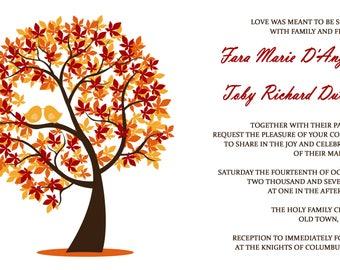 Autumn Love Bird Wedding Invitations - Fall Wedding Invitation - Autumn Invite Set - October Wedding Set - Custom Listing for Fara