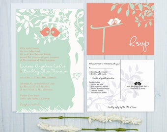 Love Bird Wedding Invitations | Coral and Mint Wedding Invitation Set | Spring Wedding Stationery | Discount Wedding Invite Suite