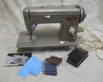 Vintage Pfaff 60 Sewing Machine-Sraight Stitch-Manual-Sewing Machine-Attachments-Pfaff Oil Can-Made in USA- Sews Quitely and Smoothly