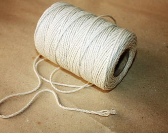 2.3 mm Cotton Twisted Cord = 1 Spool = 110 Yards = 100 Meters of Natural Soft White Twine - Twisted rope - Macrame rope