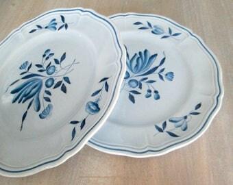 Longchamps France Dessert Salad Plates // Blue and White Transferware