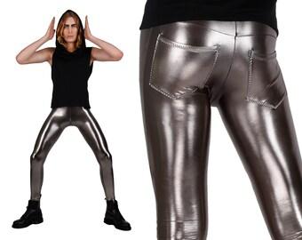 Men's Dark Silver Leggings w. Jeans Back, Metallic Meggings, Gun Metal Spandex Pants, Glam Rock Stage Wear, Burning Man, by LENA QUIST