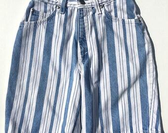 90's - Vintage - Knee Length - High waisted - Vertical Stripe - Levis 900 Shorts - Size 5