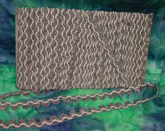 """Fabulous Antique Vintage Metallic Trim, Silver and White,  3/4"""" By the Yard"""