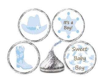 Baby Shower 324 Glossy Stickers for Candy Kiss® - Baby Blue Little Boy Cowboy Labels for Kisses boots star, cowboy hat *Discounts Available