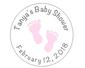 Baby Shower Personalized Baby Feet Pink or Blue Round Party Favor Stickers- Baby Feet Labels  **Discounts Available