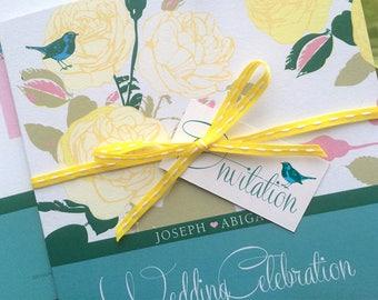 Songbird Wedding Invites in Teal & Cream