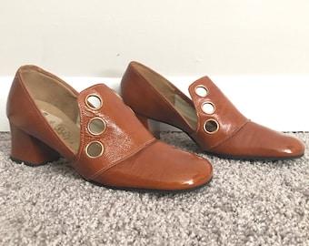 60s Mod Leather Loafer Pumps