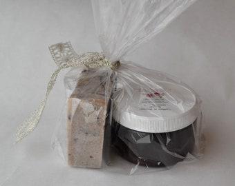 Handmade Soap Gift Bag, Spa Gift Bag, Spa Set, Soap and Scrub