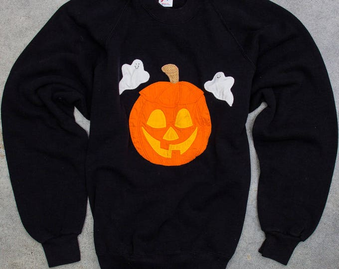 Vintage Pumpkin Sweatshirt Halloween Fleece Made in USA 50/50 Poly Cotton Blend Size XXL 7W