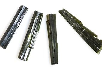Four Green Tourmaline Natural Crystals