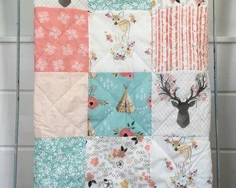 Baby Quilt, Minky Quilt, Baby Girl Quilt, Crib Bedding, Woodland Nursery, Coral Aqua Nursery, Deer nursery, Teepee