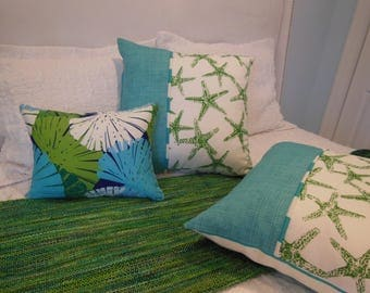 Green Starfish Design Pillow - You Select Size - Reversible Designer Pillow - Coastal Blue and Green Pillow - Starfish and Stripes
