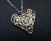 "Gear Heart Necklace ""Stewart"" Steampunk Pendant Industrial Clockwork Mechanical Love Gift Wife Girlfriend Christmas Gift Present"