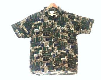Vintage Men's Silk Shirt // Vintage Silk Shirt // Short Sleeve Button Up Silk Shirt