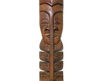Vintage hand carved TIKI tribal Mask wall hanging, Hawaii, 23""
