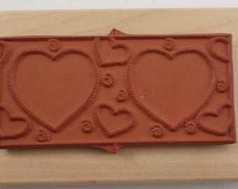 Valentine Heart Love Card And Envelope Set Limited Editions Wooden Rubber Stamp