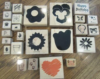 Mixed Lot Of Stampin Up Flowers Butterflies Misc. Wooden Rubber Stamps