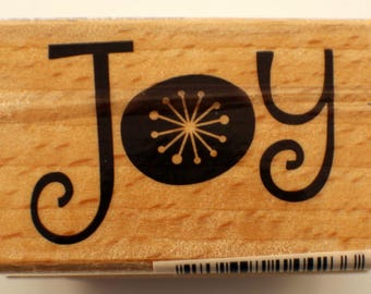 Joy Words Writing Hampton Art Studio G Wooden Rubber Stamp