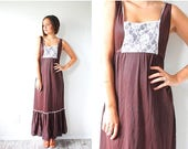 20% OFF JULY 4th SALE Vintage brown house on the prairie lace front dress // hippie boho 60's brown summer dress  Small// Brown mod 70's max