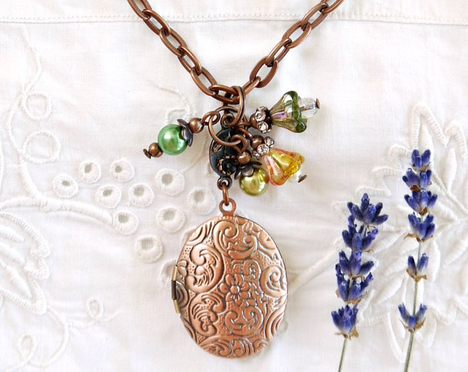 Antique copper oval photo locket with bead dangles in green and orange, vintage style photo locket with czech glass bead and glass pearls