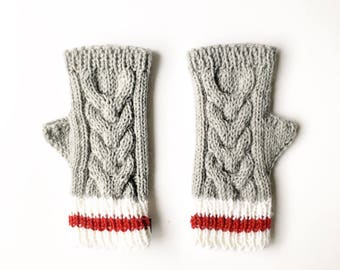 Sock Monkey Gloves, Sock Monkey  Glove, Fingerless Glove, Gauntlet, Elbow Length Glove, Fingerless Mitten, Knit Glove, Knit Fingerless Glove