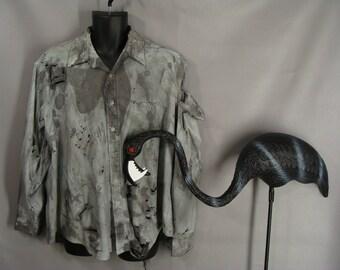 Men's Zombie Shirt Costume. BLOOD OPTIONAL. Halloween Costume. The Walking Dead Costume. Vampire Werewolf Costume. Post Apocalyptic. size XL