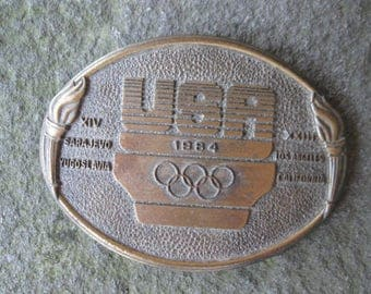 USA Olympics 1984 Belt Buckle. Los Angles California and Sarajevo Yugoslavia. Free US Shipping.