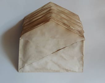 10 coffee stained envelopes for crafts | hand dyed papers | coffee dyed papers | papers for art journals | collage papers | junk journaling