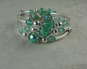 Silver and Aqua Crystal Wrap Bracelet, Free Shipping