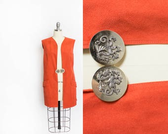 Vintage VERA MAXWELL Vest - 1970s Coral Ultra Suede Leather Dragon Buckle - Small / Medium