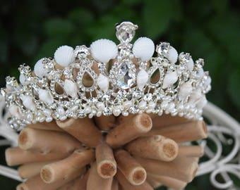 The Crystal Sea crown, Seashell tiara, wedding crown, beach wedding crown